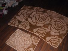 ROMANY WASHABLES MATS 4PCS NON SLIP NEW SUPER THICK ROSE DARK/BEIGE CAMEL